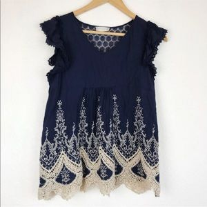 Altar'd state navy embroidered babydoll top